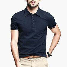 Cotton Mens Polo Shirt Short Sleeve T-shirt Fitted Solid Basic Tee Black  M~2XL