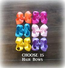 Girls hair Bows, Classic Bows, Boutique hairbows, Lot Set of 15 Bows, Wholesale