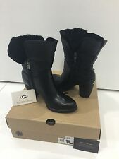 UGG Australia Jayne Black Leather Womens Boots Size US 6 UK 4.5 Brand New In Box