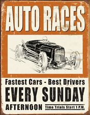 Vintage Auto Races Tin Sign Man Cave Weathered Garage Tavern Shop Collectable