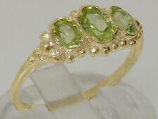 Solid 9ct Yellow Gold Natural Peridot Ladies Trilogy Vintage Style Band Ring