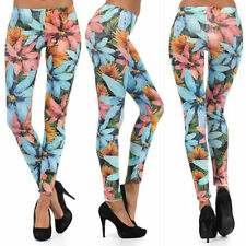 S M L Leggings Floral Multi Color Bright Summer Casual Stretch Skinny Pants New
