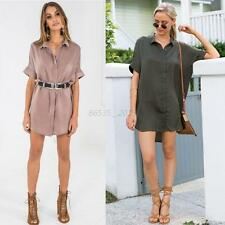 Ladies Long Sleeve Button Down OL T-Shirt Casual Women Loose Dress Blouse Tops