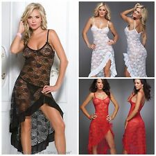 Stunning Sexy Nightgown Long Lace Lingerie Sleepwear White, Black or Red Med-6XL
