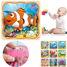 Wooden Jigsaw Marine Animals Kids Baby Educational Learning Puzzle Toys 16pcs
