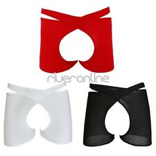Sexy Mens Sheer Crotchless Open Butt Boxer Briefs Underwear Lingerie Underpants