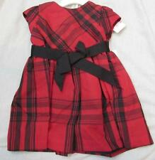 RALPH LAUREN girls red plaid holiday taffeta black sash diaper cover dress $65