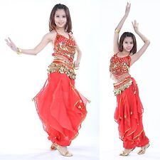 Belly Dance Costume Set 3pcs Top+Pants+Belt Indian Perform Bollywood Outfit