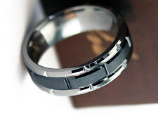 NEW D.P 8mm Tungsten Ceramic Ring w/ 4mm Slotted Black Ceramic Tungsten Band