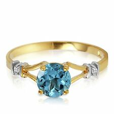 14k Solid Gold Ring with Natural Diamonds and Blue Topaz