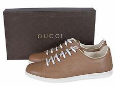 Gucci 329843 Men's Light Camel MiroSoft Leather GG Low Top Sneakers Shoes G10.5