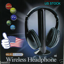 5 IN 1 Wireless Cordless Stereo FM Radio Headphone Headset for MP3 TV PC CD DVD