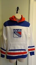 NHL Majestic New York Rangers Youth White/Blue Hooded Pullover Sweatshirt: S-XL