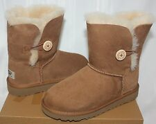 Ugg Youth Kids Bailey Button Chestnut Suede boots 5991 NEW