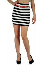 Skirt Mini S M L Nautical Navy Blue White Striped Red Patent Belt Jersey Sexy