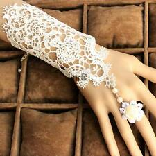 Lace Bridal Wrist Cuffs Fingerless Glove Bracelet w/ Ring Wedding Accessories