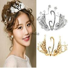 Girls Crystal Double Swan Pearls Wedding Bridal Headband Crown Tiara