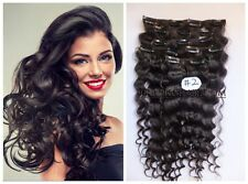 12PCS Wavy Remy Hair Curly Weaving Clip In Real Human Hair Extensions Dark Brown