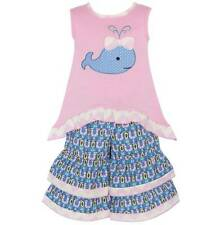 AnnLoren Girls Boutique Pink Blue High-low Whale Tunic and Capri 12-18 or 24 Mon