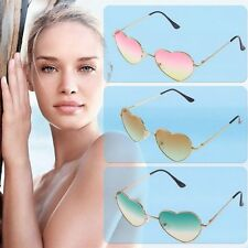 Retro UV400 Girl Metal Frame Heart Shaped Sunglasses Gradient Shades Lens BE