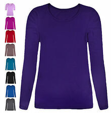 Ladies T-Shirt New Womens Long Sleeved Stretch Fit Block Colour Tee Top UK 8-22