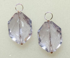 Large Lavender Crystal INTERCHANGEABLE Earring Charms SILVER, ROSE or YG