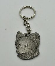 RAWCLIFFE Fine Pewter 1984 Dog I LOVE MY PAPILLION Key Chain Love Puppy