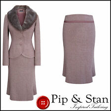OUTLINE UK10 US6 PINK WOOL TWEED FUR COLLAR SKIRT SUIT 50S VINTAGE STYLE SIZE