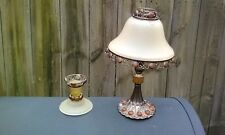 Vintage Metal  Frosted Glass Votive /Tealight Candle Lamp & Taper Candle Holder