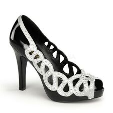 Pin Up Couture AVA-12 Black Patent-Silver Satin Peep Toe Pump