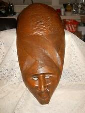 "VINTAGE LARGE HAND CARVED WOOD 20"" AFRICAN TRIBAL FACE MASK WALL HANGER"