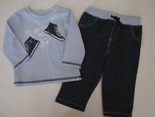 Guess Jeans Pants L/S Tee Top 3 6 M Boy's High Top Sneakers Blue 2 Pc FREE NWT