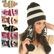 Ladies Women Pom Pom Knit Ear Flap Beanie Warm Winter Hat Ski Cap