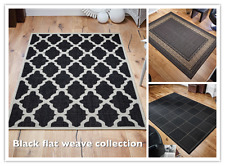Kitchen hall mat anti-slip backing washable flat weave sisal seagrass rug black