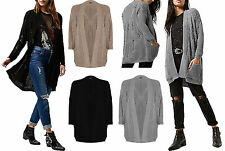 Womens Ladies Ripped Knitted Knitted Open Boyfriend Cardigan Jumper Top UK 8-14