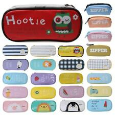 PU Leather/Canvas Pencil Case School Stationery Pen Storage Pouch for Students
