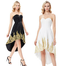 Applique High-Low Evening Ball Prom Gown Formal Bridesmaid Cocktail Party Dress