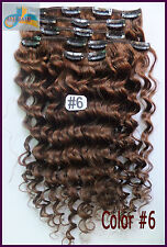200g Curly Wavy Clip In 100%Real Human Hair Extension Deep Weaving Hair #6 Brown