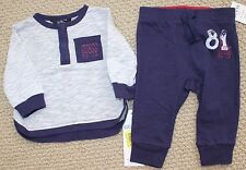Guess Jeans Pants L/S Tee Top Shirt 3 6 M FREE 2 Pc Gray Navy NWT