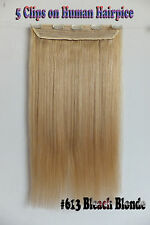 120g Bleach Blonde Remy 5Clips One Hairpiece Clip In Real Human Hair Extensions