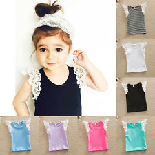 Baby Kids Girls Clothes Lace Sleeve Cotton T-Shirt Tops Princess Tee Shirts New