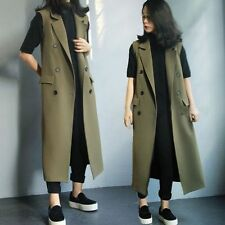 Women's Oversize Waistcoats Slim Casual Long Office Double-Breasted Vests Coats