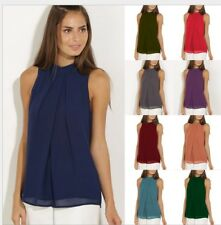 ladys Casual Sleeveless Chiffon Vest Women T Shirt Blouse Loose TopS plus size