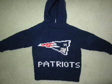 NEW! Hand Knit NE Patriots Baby Sweater back zipper 6 or 12 month Navy Hoodie