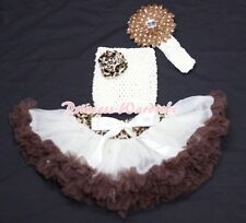 Newborn Baby Cream Brown Leopard Pettiskirt Beige Crochet Tube Top 3PC Set 3-12M