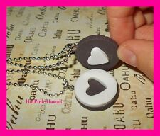 2pcs Couples Unisex BF Oreo Cookie Charm Lovers Necklaces Heart Fit Together USA