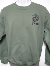 USMC SWEATSHIRT/ MILITARY OD GREEN COLOR/ NEW/ WITH TEXT UNDERNEATH