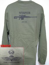 USMC FORCE RECON LONG SLEEVE T-SHIRT/ .50 CAL SNIPER/ MILITARY/  NEW