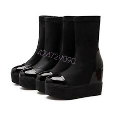 NEW Womens High Heel Mid-Calf Boots Shoes Round Toe Platform AU Size YB4355