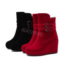NEW Womens High Heel Mid-Calf Shoes Wedge Buckle  Wedge Boots AU Size YB2132